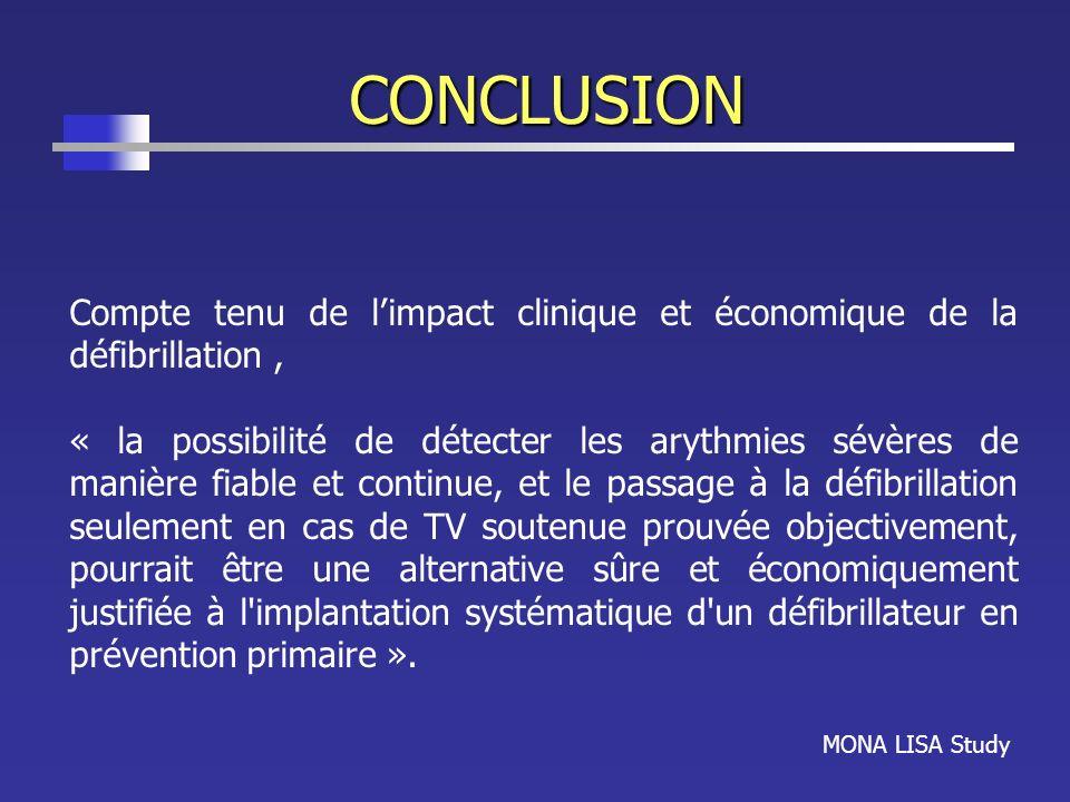 CONCLUSIONCompte tenu de l'impact clinique et économique de la défibrillation ,