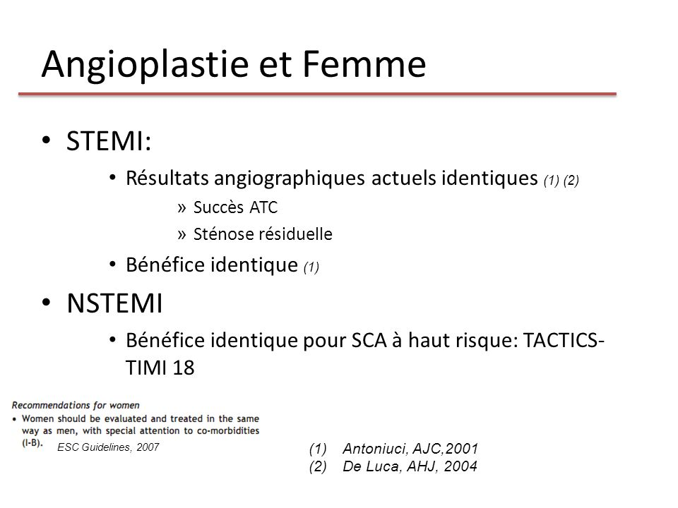Angioplastie et Femme STEMI: NSTEMI