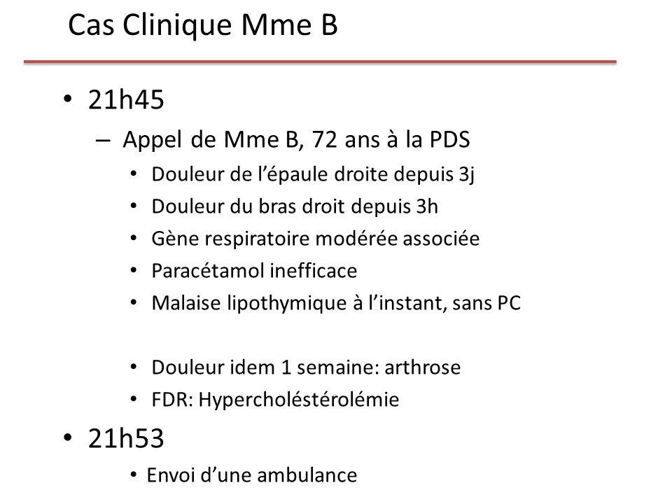 Cas Clinique Mme B 21h45 21h53 Appel de Mme B, 72 ans à la PDS