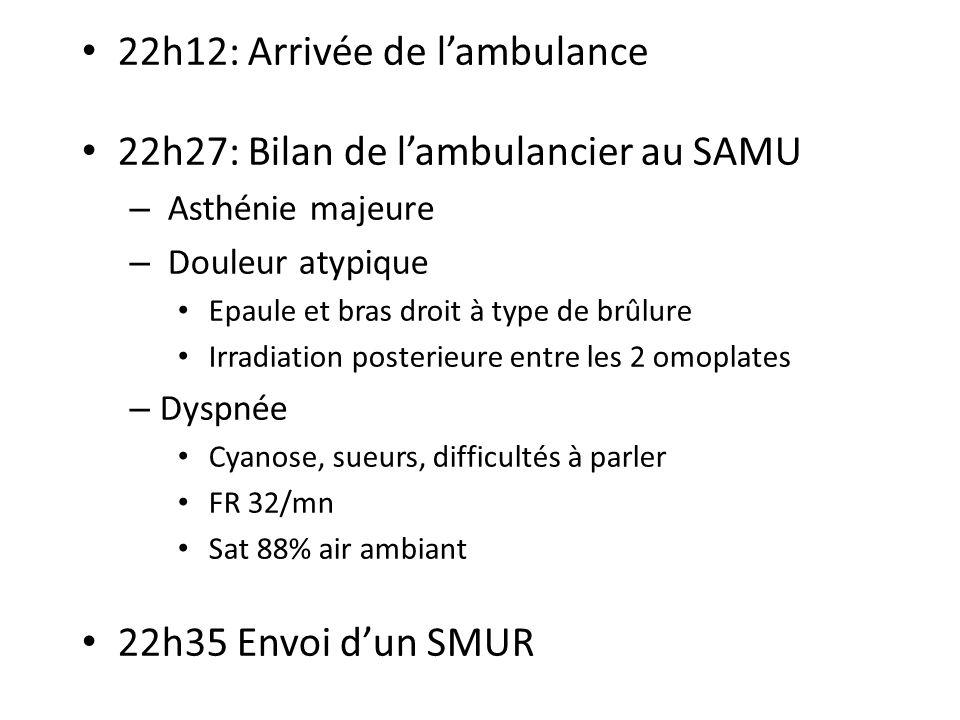 22h12: Arrivée de l'ambulance 22h27: Bilan de l'ambulancier au SAMU