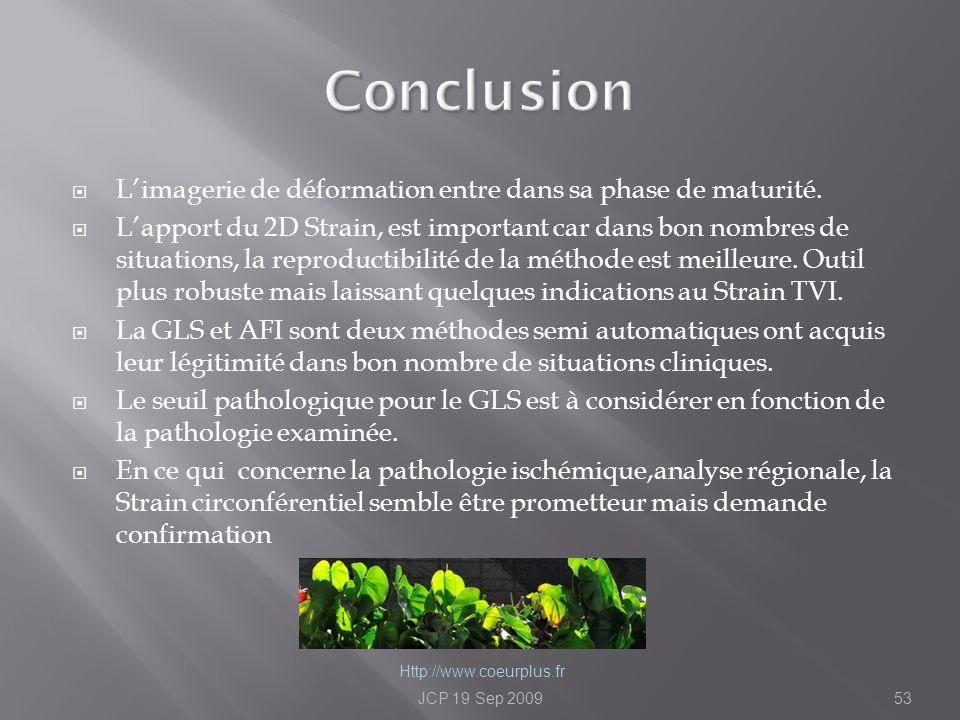 Conclusion L'imagerie de déformation entre dans sa phase de maturité.
