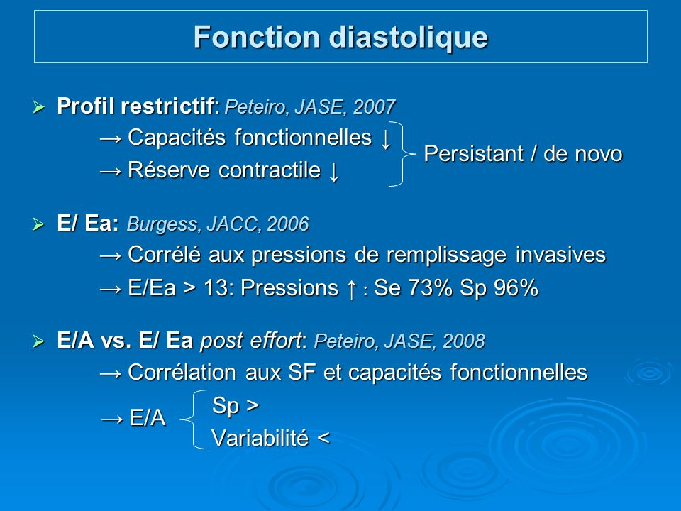 Fonction diastolique Profil restrictif: Peteiro, JASE, 2007