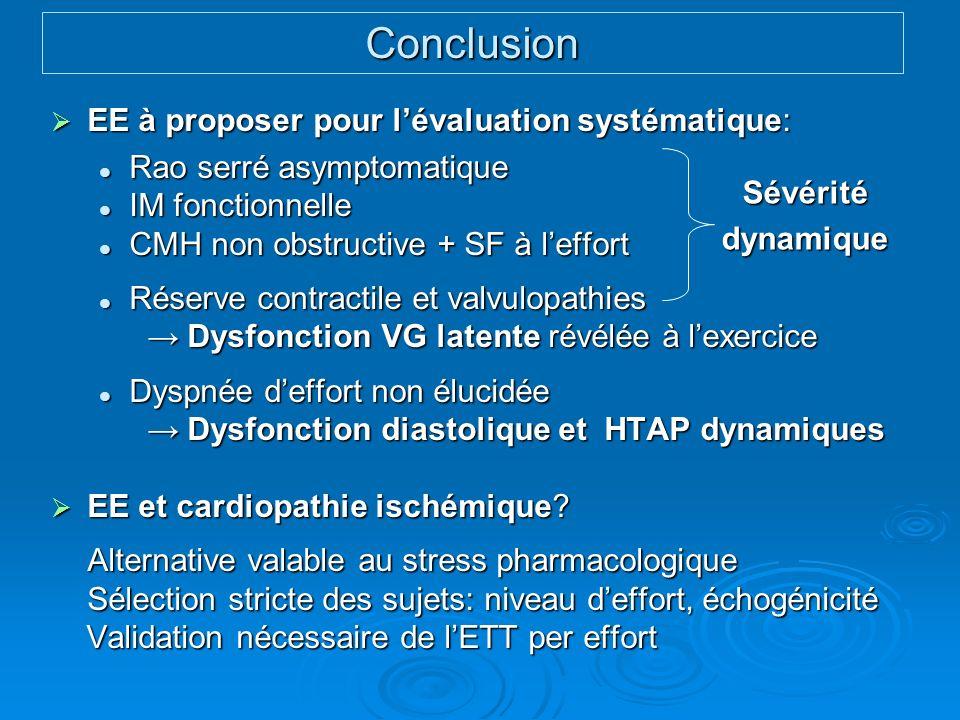 Conclusion EE à proposer pour l'évaluation systématique: