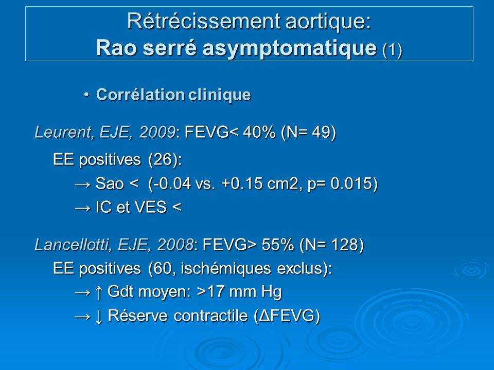 Rétrécissement aortique: Rao serré asymptomatique (1)