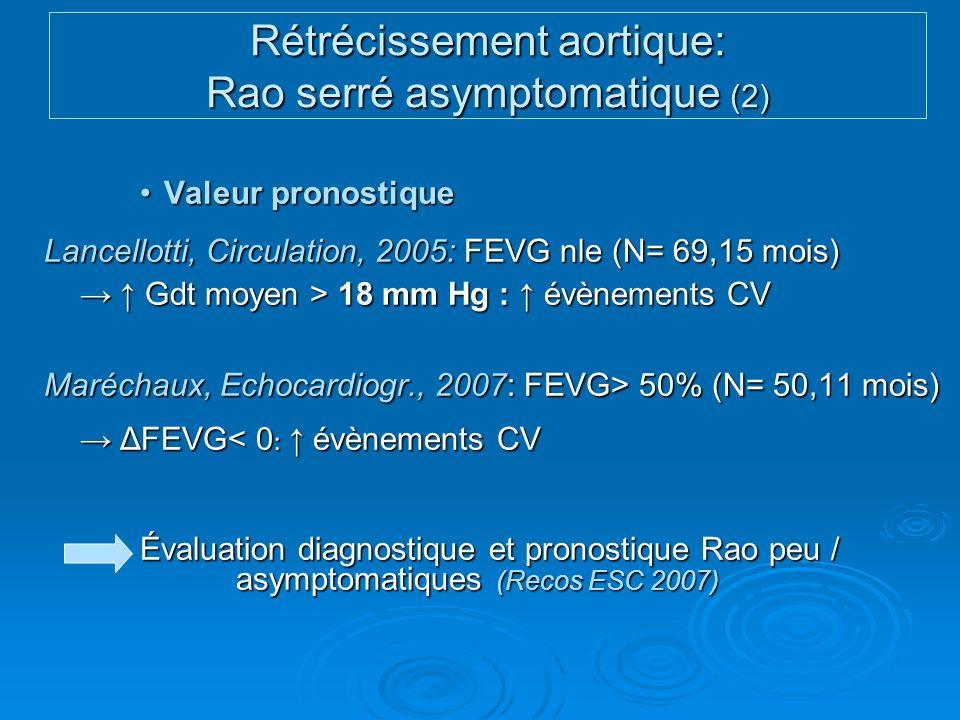 Rétrécissement aortique: Rao serré asymptomatique (2)