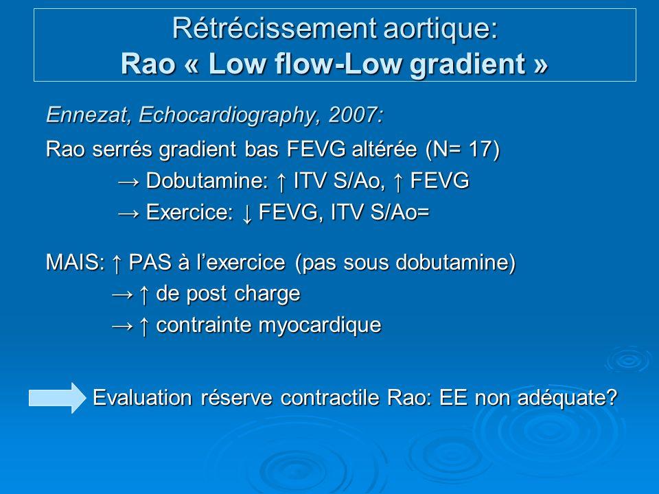 Rétrécissement aortique: Rao « Low flow-Low gradient »