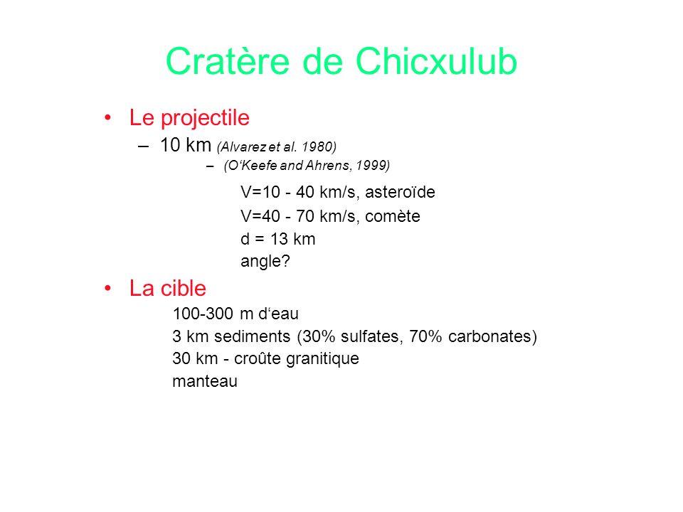 Cratère de Chicxulub Le projectile V=10 - 40 km/s, asteroïde La cible