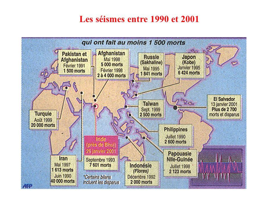 Les séismes entre 1990 et 2001