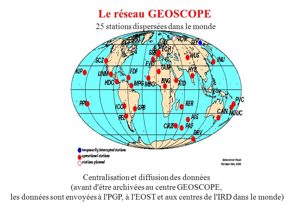 Le réseau GEOSCOPE 25 stations dispersées dans le monde