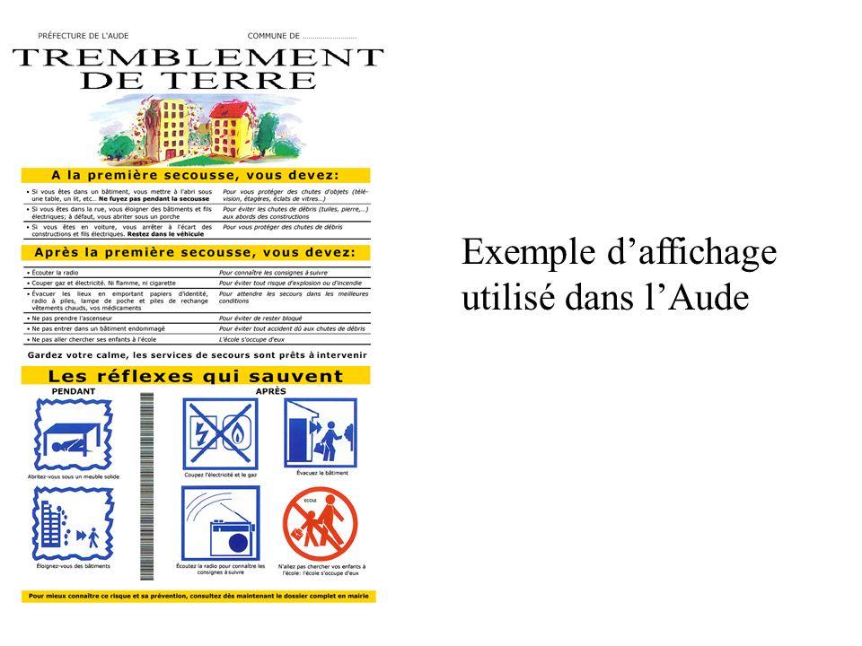 Exemple d'affichage utilisé dans l'Aude
