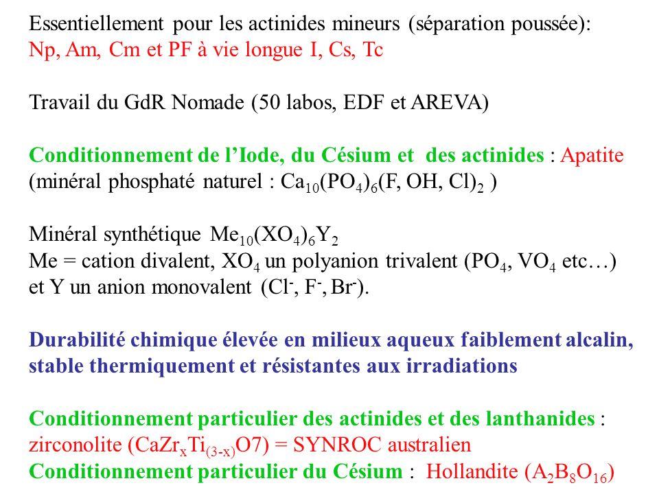Essentiellement pour les actinides mineurs (séparation poussée):