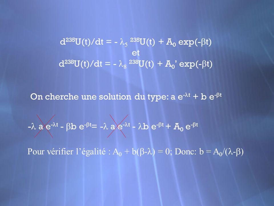 d235U(t)/dt = - l5 235U(t) + A0 exp(-bt) et
