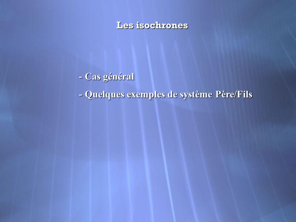 Les isochrones - Cas général - Quelques exemples de système Père/Fils