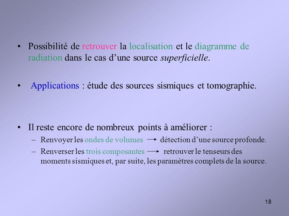 Applications : étude des sources sismiques et tomographie.