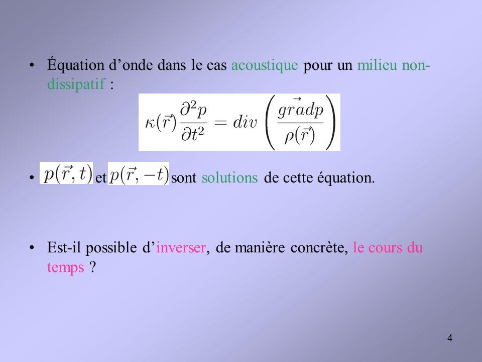 Équation d'onde dans le cas acoustique pour un milieu non- dissipatif :