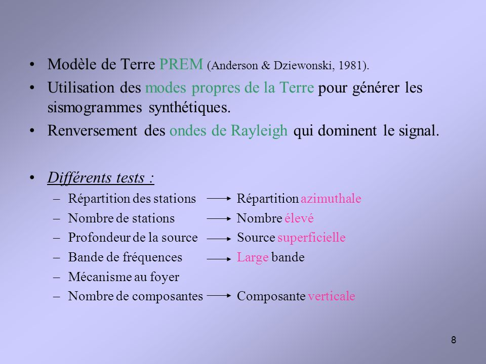 Modèle de Terre PREM (Anderson & Dziewonski, 1981).