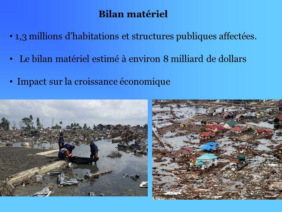 Bilan matériel 1,3 millions d'habitations et structures publiques affectées. Le bilan matériel estimé à environ 8 milliard de dollars.