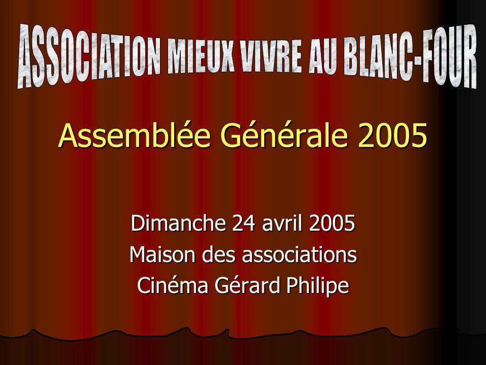 Dimanche 24 avril 2005 Maison des associations Cinéma Gérard Philipe