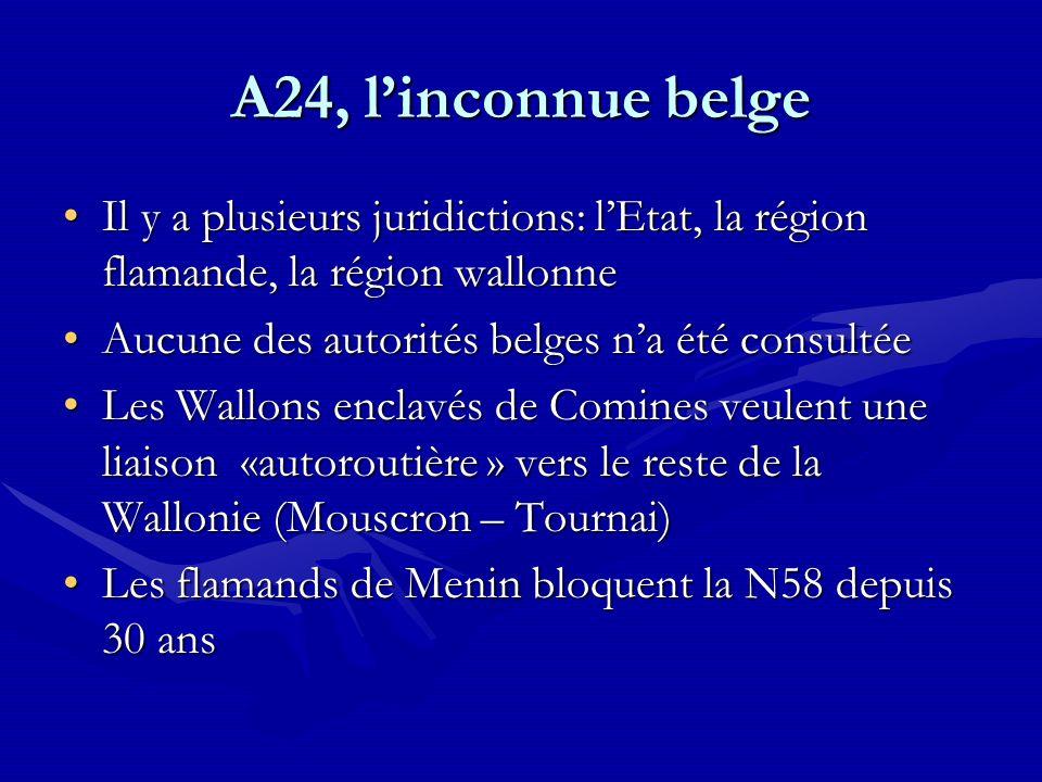 A24, l'inconnue belge Il y a plusieurs juridictions: l'Etat, la région flamande, la région wallonne.