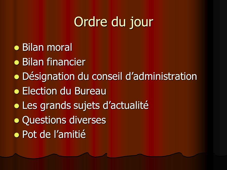 Ordre du jour Bilan moral Bilan financier