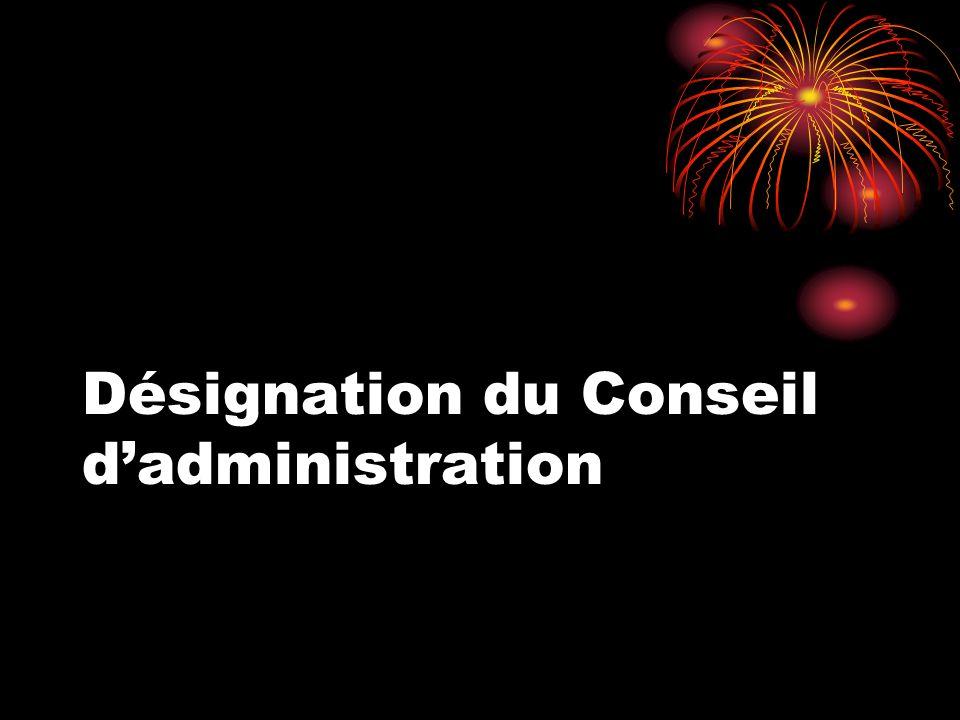 Désignation du Conseil d'administration