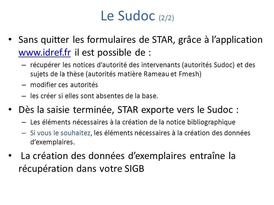 Le Sudoc (2/2) Sans quitter les formulaires de STAR, grâce à l'application www.idref.fr il est possible de :