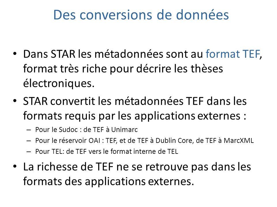 Des conversions de données