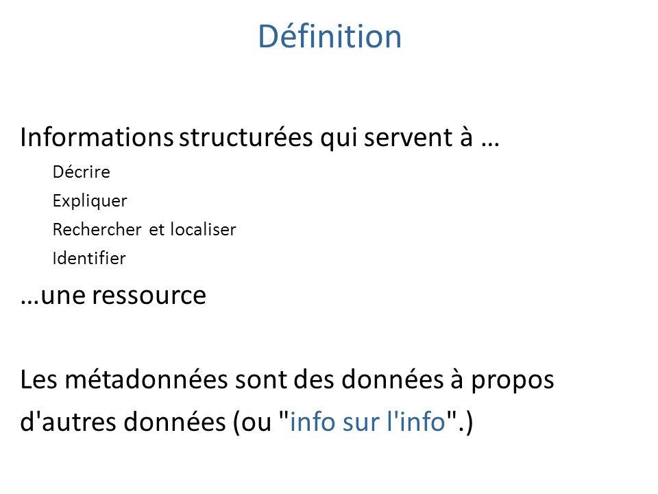 Définition Informations structurées qui servent à … …une ressource