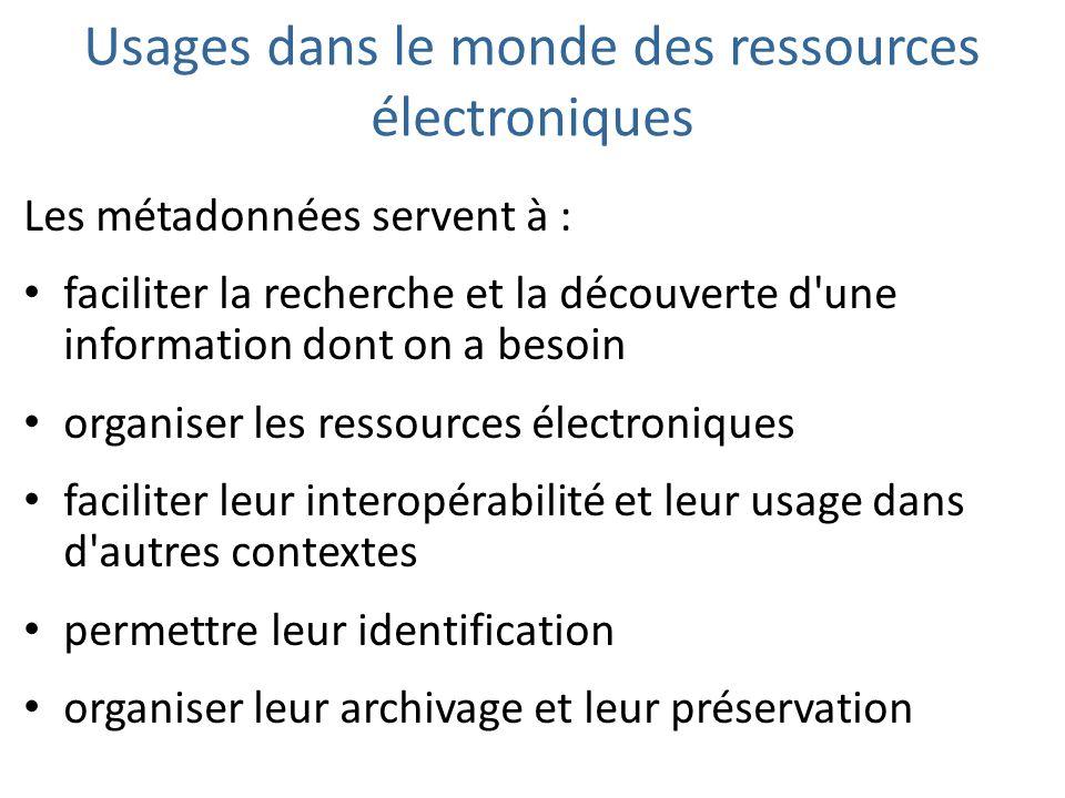 Usages dans le monde des ressources électroniques
