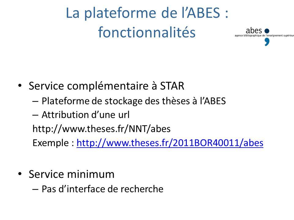 La plateforme de l'ABES : fonctionnalités