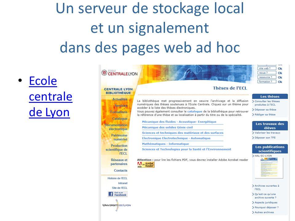 Un serveur de stockage local et un signalement dans des pages web ad hoc