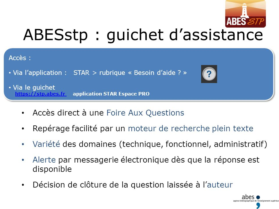 ABESstp : guichet d'assistance