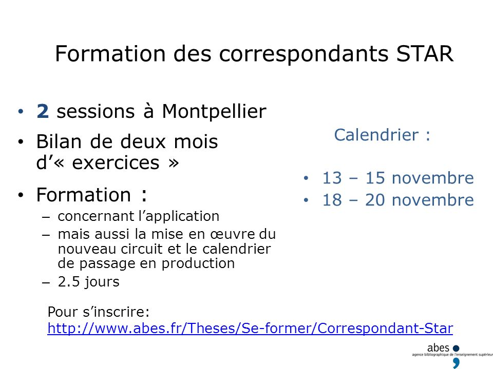 Formation des correspondants STAR