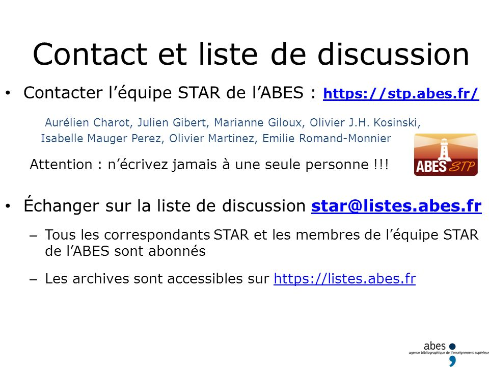 Contact et liste de discussion