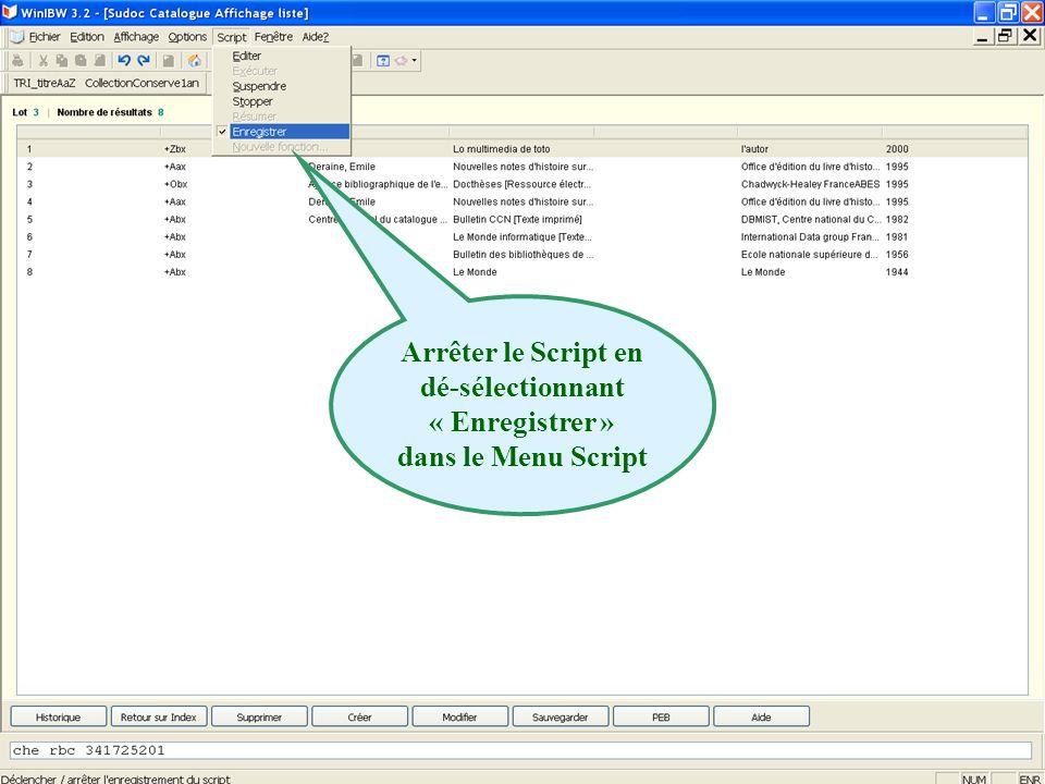 Arrêter le Script en dé-sélectionnant « Enregistrer » dans le Menu Script