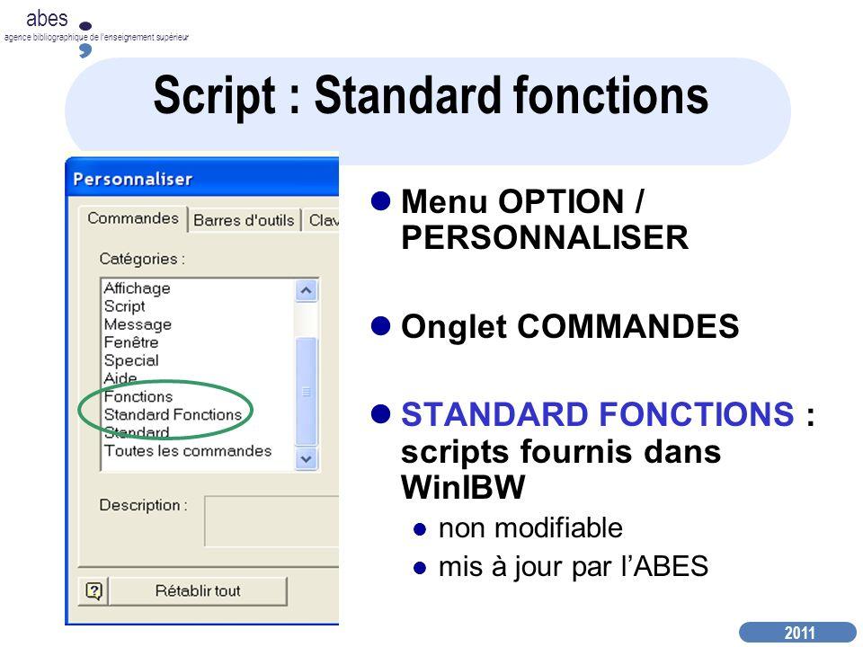 Script : Standard fonctions