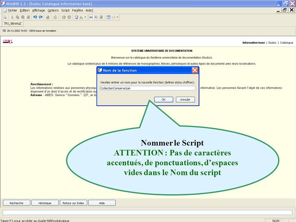 Nommer le Script ATTENTION : Pas de caractères accentués, de ponctuations, d'espaces vides dans le Nom du script.