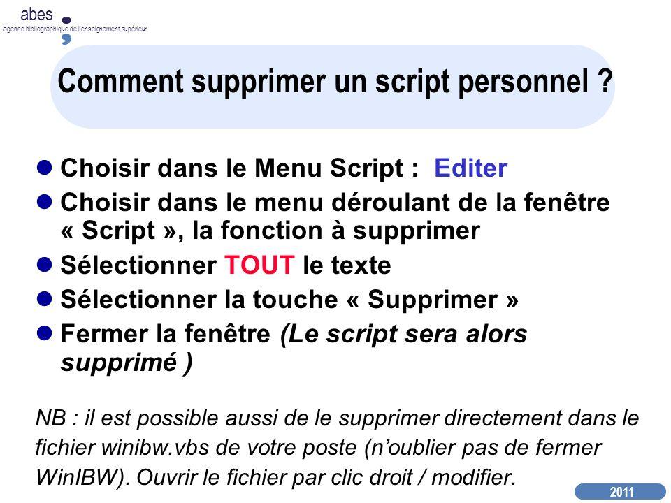 Comment supprimer un script personnel