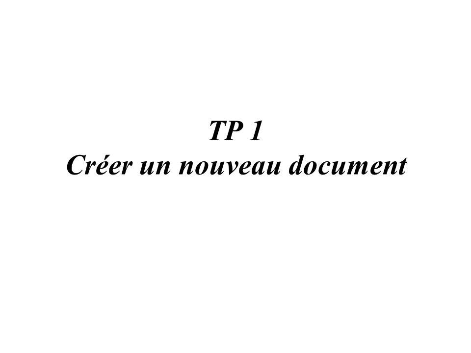 TP 1 Créer un nouveau document