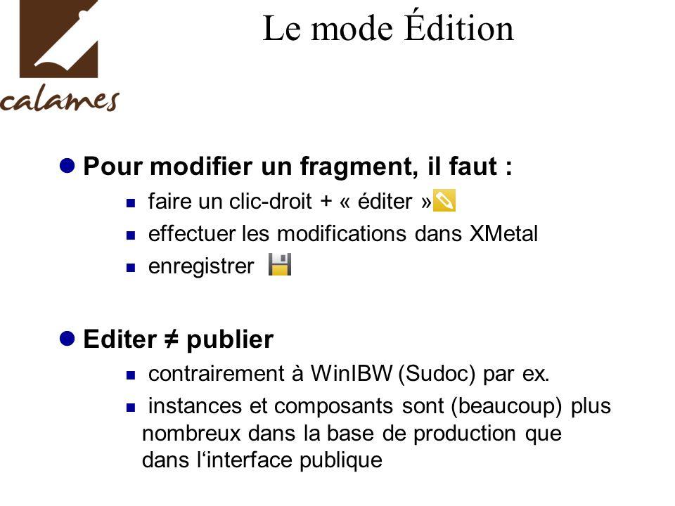 Le mode Édition Pour modifier un fragment, il faut : Editer ≠ publier