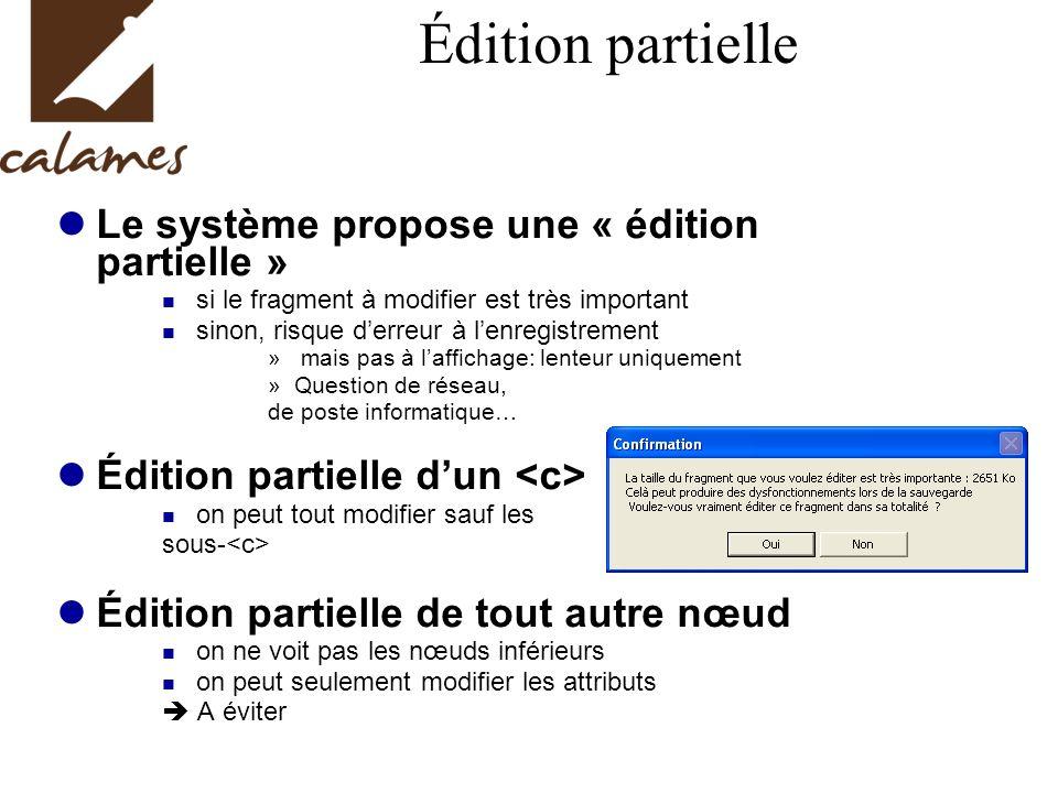 Édition partielle Le système propose une « édition partielle »