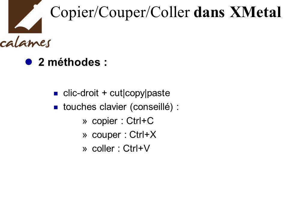 Copier/Couper/Coller dans XMetal