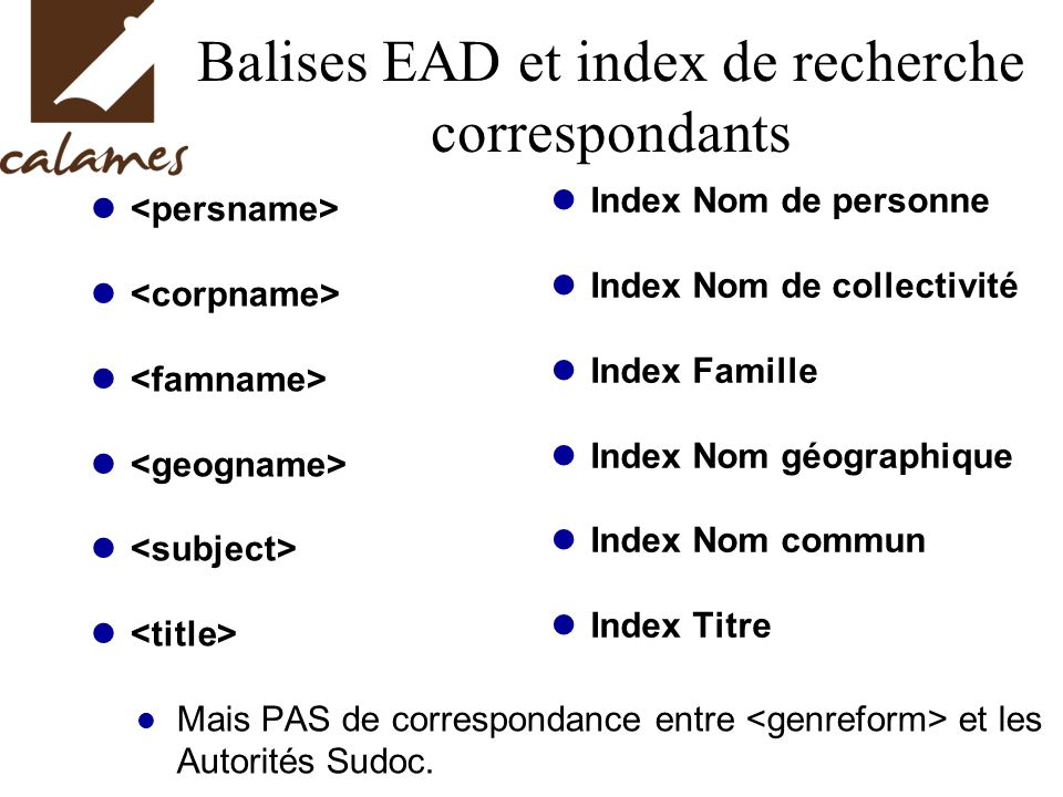 Balises EAD et index de recherche correspondants