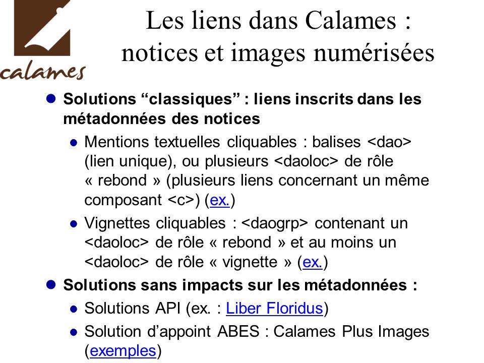 Les liens dans Calames : notices et images numérisées