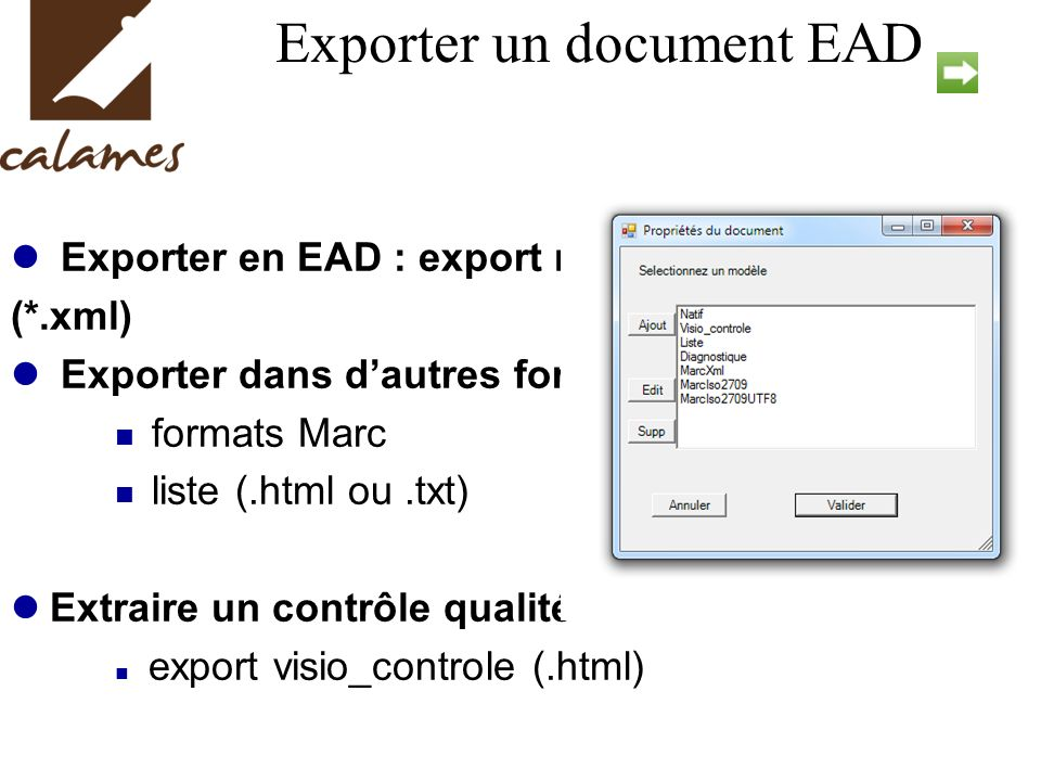 Exporter un document EAD