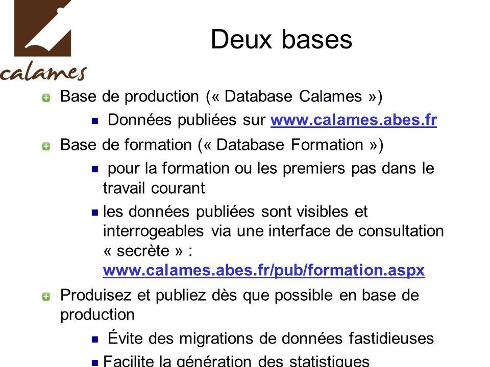 Deux bases Base de production (« Database Calames ») Données publiées sur www.calames.abes.fr. Base de formation (« Database Formation »)