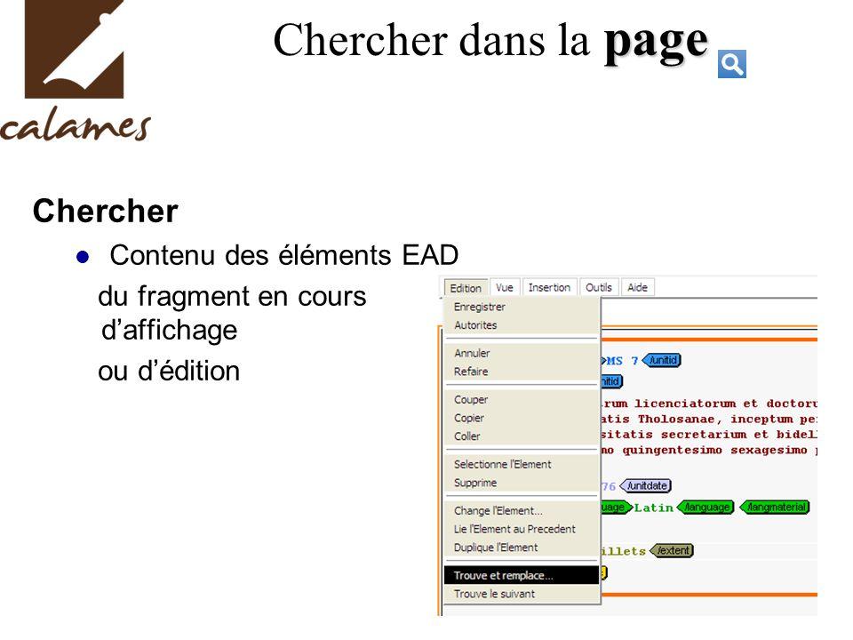Chercher dans la page Chercher Contenu des éléments EAD