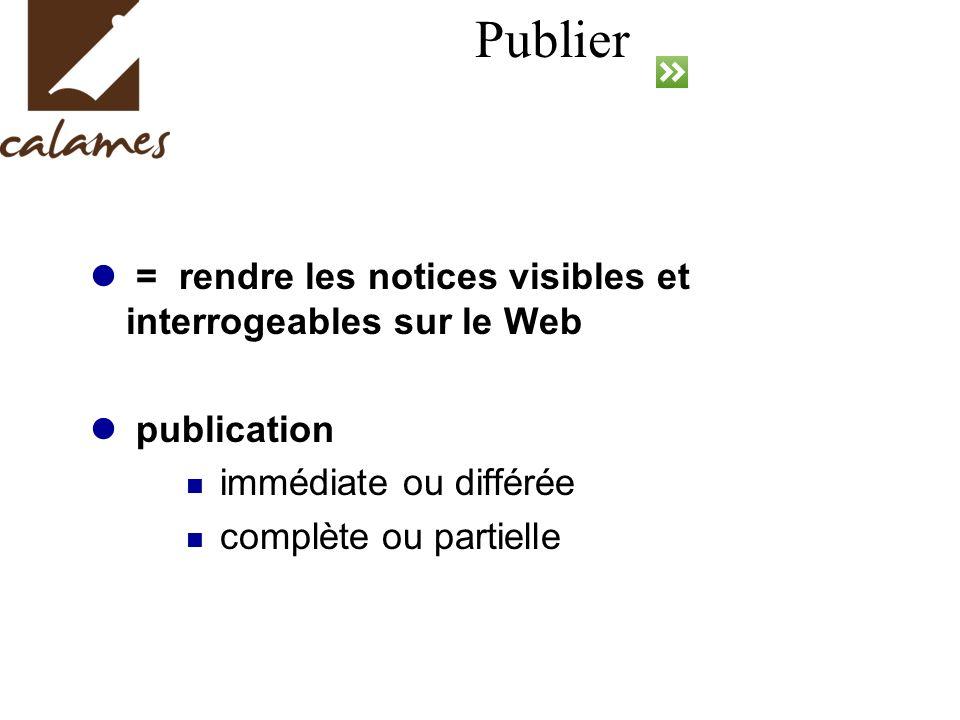 Publier = rendre les notices visibles et interrogeables sur le Web