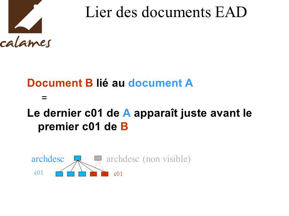 Lier des documents EAD Document B lié au document A