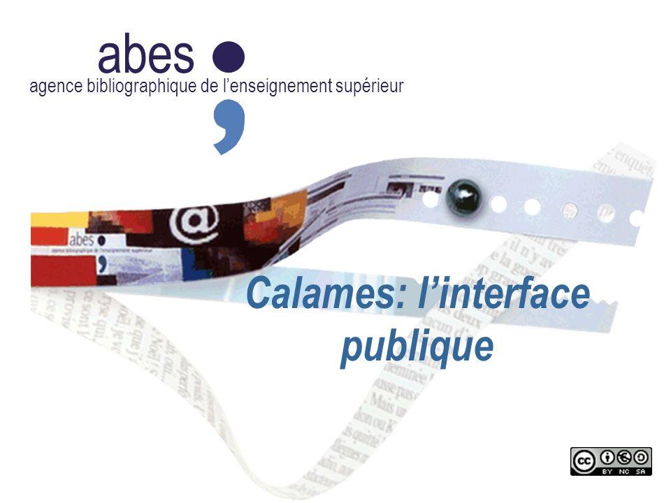 Calames: l'interface publique